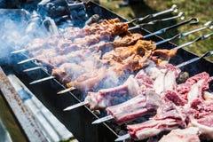 Preparation of shish kebab on skewers Stock Image