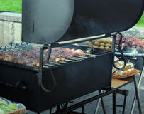 Preparation of shish kebab on the streets of the city, Moscow, Russia Royalty Free Stock Images
