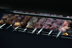 Preparation of shish kebab on the streets of the city, Moscow, Russia Royalty Free Stock Photo