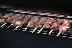 Preparation of shish kebab on the streets of the city, Moscow, Russia Royalty Free Stock Photos