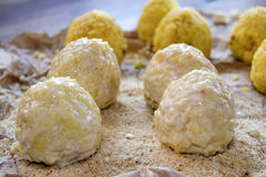 Preparation of sicilian arancine Royalty Free Stock Photo