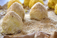 Preparation of sicilian arancine Royalty Free Stock Photography