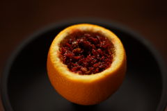 Preparation for Smoking fruit orange aroma hookah. Close-up. Royalty Free Stock Photo
