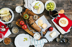Preparation Snack for Eating on Wooden Table Stock Photos