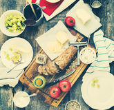 Preparation Snack for Eating on Wooden Table Royalty Free Stock Photography