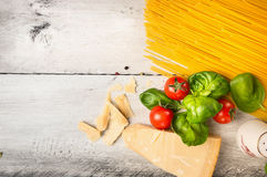 Preparation for spaghetti cooking, top view Royalty Free Stock Image