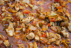 Preparation spanish paella Stock Images
