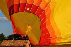 Preparation for the start of the hot air balloon. Stock Image