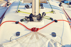 Preparation of staysail for use Royalty Free Stock Photos