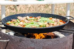 Preparation step of authentic Paella Valenciana Royalty Free Stock Images