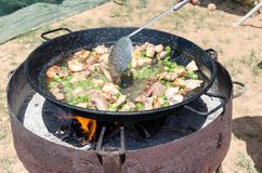 Preparation step of authentic Paella Valenciana Royalty Free Stock Photo