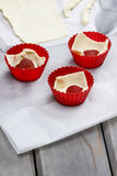 Preparation of strawberry muffins Royalty Free Stock Image