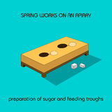 Preparation of sugar and feeding troughs (spring work) Royalty Free Stock Photo