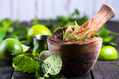 Preparation of summer mojito drink Royalty Free Stock Photo