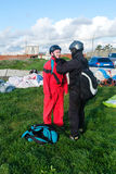 Preparation of tandem paraglider for the first flight Royalty Free Stock Photo