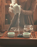 Preparation for tea ceremony. Woman making traditional chinese drink royalty free stock photos
