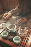 Preparation for tea ceremony. Woman making traditional chinese drink stock photo