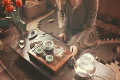 Preparation for tea ceremony. Woman making traditional chinese drink stock images