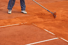 Preparation Tennis Court Royalty Free Stock Photography