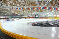Preparation to race on ice in sports complex Stock Photo