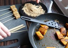 Sesame tofu skewers Stock Photo