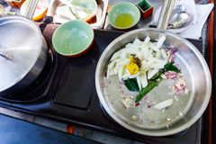 Cooking class. Preparation of traditional Sri Lankan curry dish at cooking class Stock Image