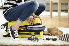 Preparation travel suitcase at home. Preparation travel  suitcase at home Stock Photography