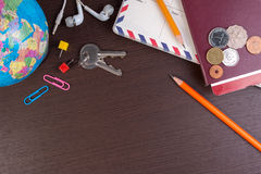Preparation for travel, Top view travel items on the wooden for travel trip. stock image