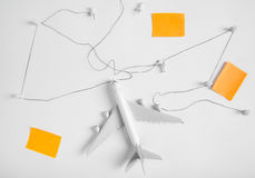 Preparation for Traveling concept, push pin, string, paper noted. Stock Images