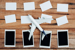 Preparation for Traveling concept and to do list, the paper noted, airplane, photo frame. Royalty Free Stock Images