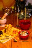 Preparation of treats for traditional Orthodox Christmas - handmade baked cookies in the form of lambkin, dried fruits, stock photography