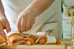 Preparation of turkey breast. Stock Photo