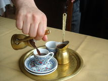 Preparation for Turkish coffee. Having a Turkish coffee in istanbul Stock Image