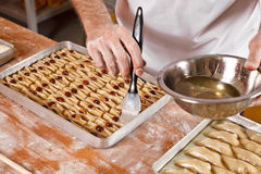 Preparation of turkish and iran sweets baklava Stock Images