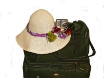 Preparation for vacation. Picture of the items for vacation: suitcases, camera, hat Stock Photo