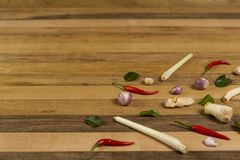 Preparation vegetables and herb on wooden table royalty free stock photography
