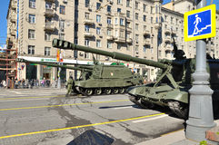 Preparation of the Victory Day parade in Moscow - military equipment on a city street Stock Photo