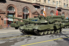 Preparation of the Victory Day parade in Moscow - military equipment on a city street Royalty Free Stock Images