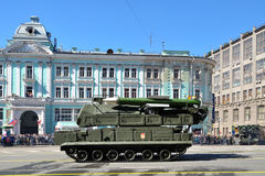 Preparation of the Victory Day parade in Moscow - military equipment on a city street Stock Photography