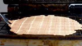 Preparation of wafers from fresh dough in a waffle maker in daylight. Waffles. Making fresh hot waffles in the waffle maker for food stock footage