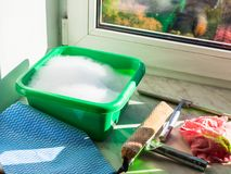 Preparation for washing window glass. At home royalty free stock photo