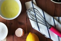 Preparation for the whisking of egg whites Stock Photos
