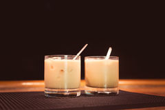 Preparation of white russian cocktails Stock Photo
