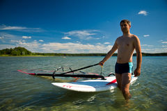 Preparation for windsurfing royalty free stock photos