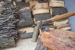 Preparation for winter, chopped wood Royalty Free Stock Image