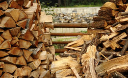 Preparation for winter. Stacking the wood. Chopped firewood ready to heating season stock image. Wood stacking method. Firewood piles at countryside stock photo Stock Photo