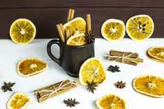 Preparation of a winter warming alcoholic beverage with spices and wine - mulled wine Stock Photo