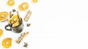 Preparation of a winter warming alcoholic beverage with spices and wine - mulled wine Royalty Free Stock Photo