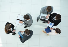 Preparation for the workshop. business team with financial sched Stock Image