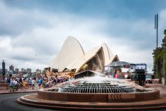 Preparations for Australia Day celebrations outside Opera House. Opera House, Sydney, Australia -January 26, 2018: Preparations for the free to air concert in Stock Images